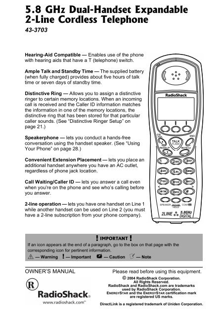 Uniden 2 Line Cordless Intercom Paging Dual Conference Phone System w 7 Handsets
