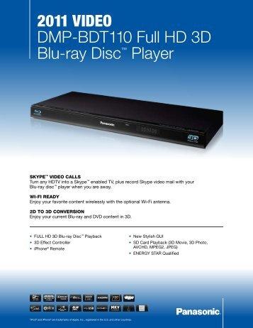 2011 VIDEO DMP-BDT110 Full HD 3D Blu-ray Disc ... - Radio Shack