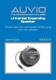 AUVIO Universal Expanding Speaker (User's Guide) - Radio Shack