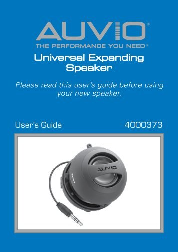 AUVIO Universal Expanding Speaker (User's Guide) - Radio Shack