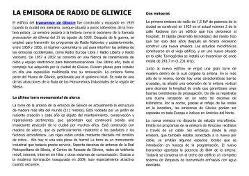 LA EMISORA DE RADIO DE GLIWICE - Radiostacja