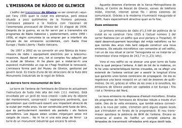 L'EMISSORA DE RÀDIO DE GLIWICE - Radiostacja