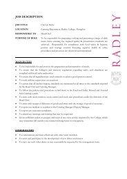 JOB DESCRIPTION - Radley College