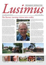 The Bursar: turning visions into reality - Radley College