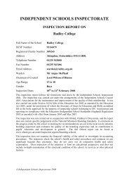 INDEPENDENT SCHOOLS INSPECTORATE - Radley College