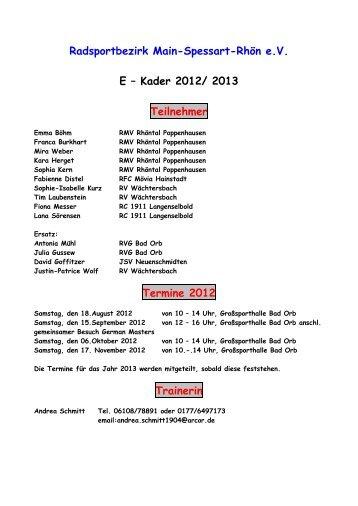 Radsportbezirk Main-Spessart-Rhön e.V. E – Kader 2012/ 2013 ...