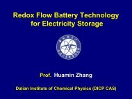 Redox Redox Flow Battery Technology for Electricity Storage