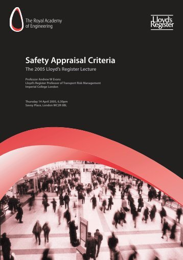 Safety Appraisal Criteria - Royal Academy of Engineering