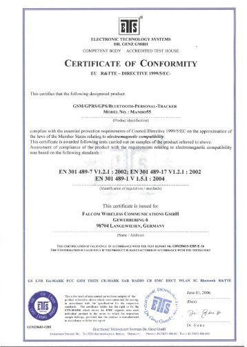 Certificate Of Conformance - Team-Logic