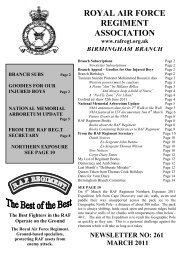 March 2011 - RAF Regiment Association Official Website