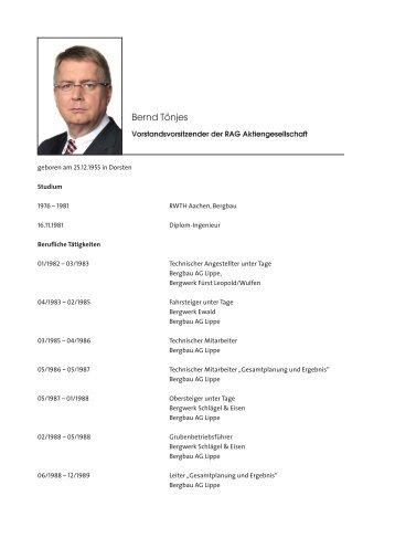 Bernd Tönjes - RAG Aktiengesellschaft