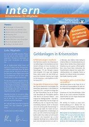 Mitgliederzeitschrift II/2011 - Raiffeisenbank Wesermarsch-Süd eG