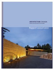 Rapport annuel 2010 - Royal Architectural Institute of Canada