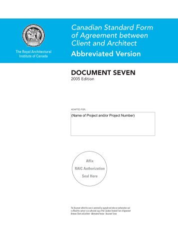 Document Seven, 2005   PDF   Royal Architectural Institute Of Canada