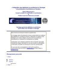 Intégration des diplômés en architecture à l'étranger - Royal ...