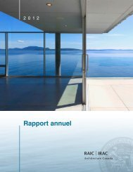 Rapport annuel - Royal Architectural Institute of Canada
