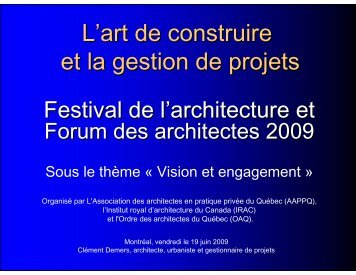 L'art de construire et la gestion de projets - Royal Architectural ...