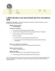 L'IRAC dévoile le nom des lauréats des Prix d'excellence 2009