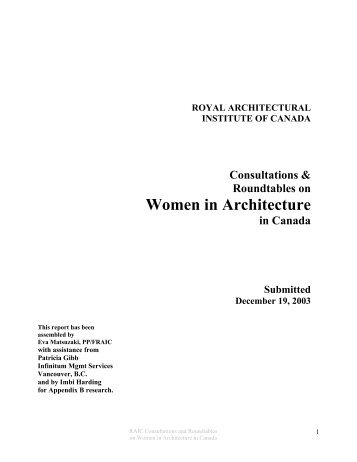 Women in Architecture - Royal Architectural Institute of Canada