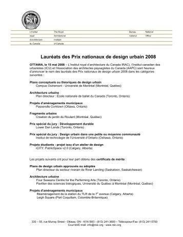 Lauréats des Prix nationaux de design urbain 2008 - Royal ...