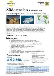 ab € 2.565,- pro Person - Raiffeisen Reisen