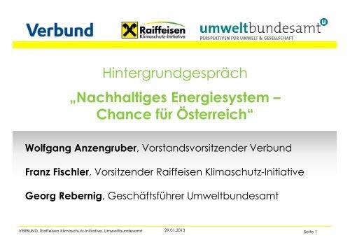 Nachhaltiges Energiesystem – Chance für Österreich - Raiffeisen