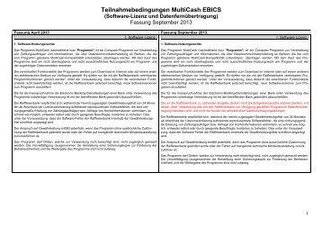 Teilnahmebedingungen MultiCash EBICS, Vergleich 2013 - Raiffeisen