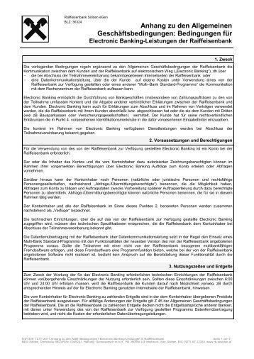 Bedingungen für Electronic Banking-Leistungen der Raiffeisenbank