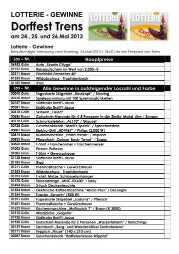 Lotterie – Dorffest Trens - Raiffeisen