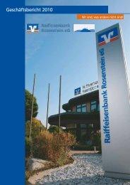 Geschäftsbericht 2010 - Raiffeisenbank Rosenstein eG