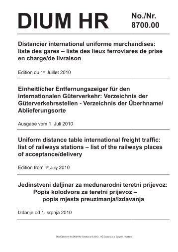 liste des lieux ferroviares de prise en charge/de livraison