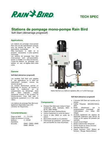 TECH SPEC Stations de pompage mono-pompe Rain Bird