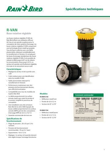 Tech Spec R-VAN - Rain Bird irrigation
