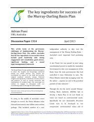 The key ingredients for success of the Murray-‐Darling Basin Plan ...