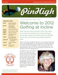 Welcome to 2012 Golfing at Incline - Golf Fusion