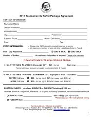 2011 Tournament & Buffet Package Agreement - Two Eagles Golf ...