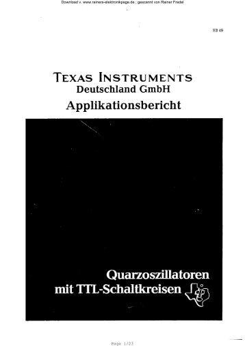 EB 49: Quarzoszillatoren mit TTL - Rainers - Elektronikpage