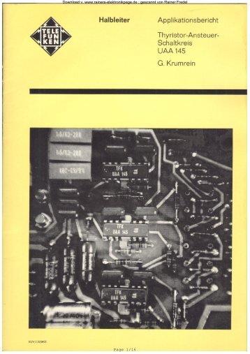 Thyristoransteuerschaltkreis UAA 145 - Rainers - Elektronikpage