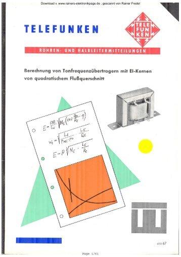 Berechnung von Tonfrequenzübertragern mit EI - Rainers ...