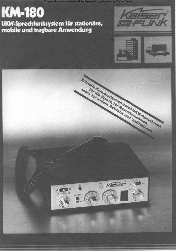 Anleitung UKW - Funkgerät KM - 180 - Rainers - Elektronikpage