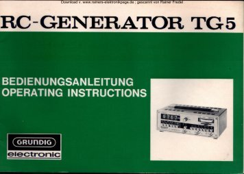 GRUNDIG RC - Generator TG 5 - Rainers - Elektronikpage