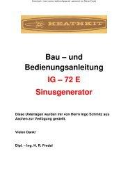 Sinusgenerator IG-72E - Rainers - Elektronikpage