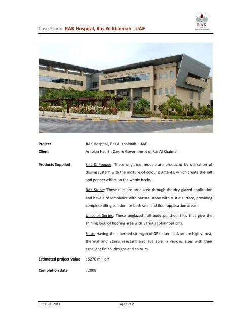 Case Study: RAK Hospital, Ras Al Khaimah - UAE - RAK Ceramics