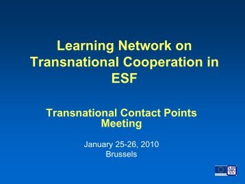 Learning Network on Transnational Cooperation in ESF ...