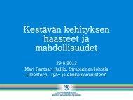 Kestävän kehityksen haasteet ja mahdollisuudet - Rakennerahastot.fi