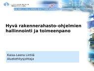 Hyvä rakennerahasto-ohjelmien hallinnointi ja toimeenpano, Kaisa ...