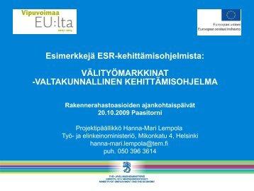 Välityömarkkinat -kehittämisohjelma - Rakennerahastot.fi