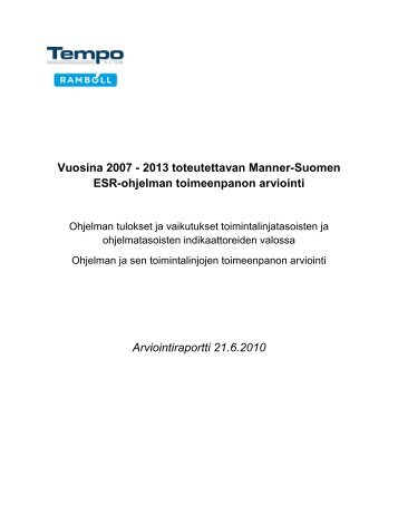Manner-Suomen ESR-ohjelman toimeenpanon arviointi 2010