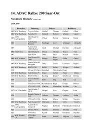 14. ADAC Rallye 200 Saar-Ost Nennliste Historic - Rallye200-info