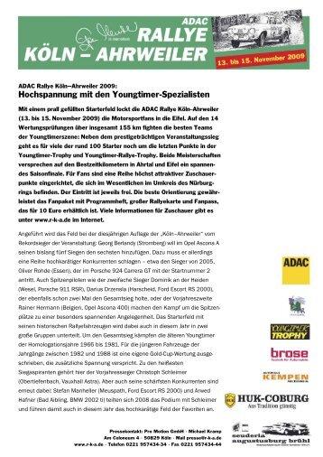 Volles Starterfeld - Rallyecrack